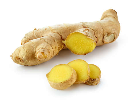 fresh ginger root isolated on white background