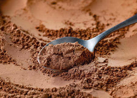 spoon of fine cocoa powder Reklamní fotografie