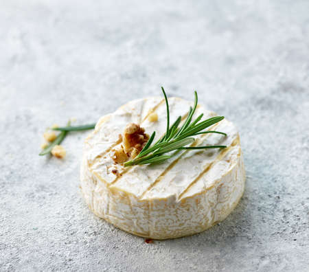fresh brie cheese with rosemary and walnut on light painted background