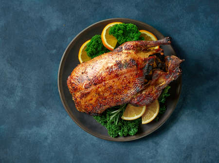 duck roast decorated with oranges and kale on deep blue background, top view