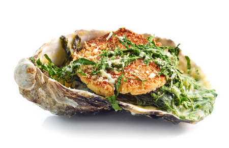 baked oyster with toasted bread and parsley isolated on white background