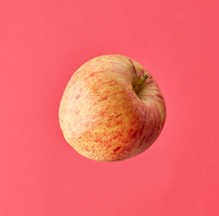 one fresh raw apple isolated on pink background