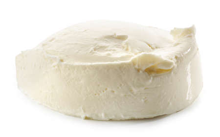 piece of cream cheese isolated on white background