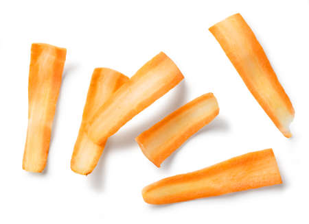 heao of fresh raw thin carrot slices isolated on white background, top view
