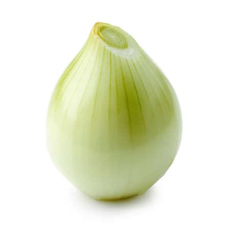fresh raw peeled onion isolated on white background