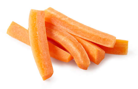 heap of fresh raw carrot sticks isolated on white background, selective focus Reklamní fotografie