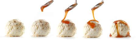 ice cream with caramel sauce isolated on white background Reklamní fotografie