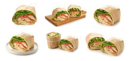 set of chicken wrap sandwich isolated on white background Reklamní fotografie