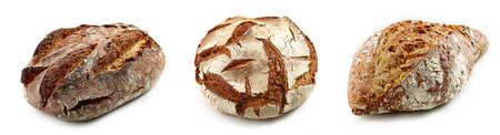 various freshly baked bread isolated on white background