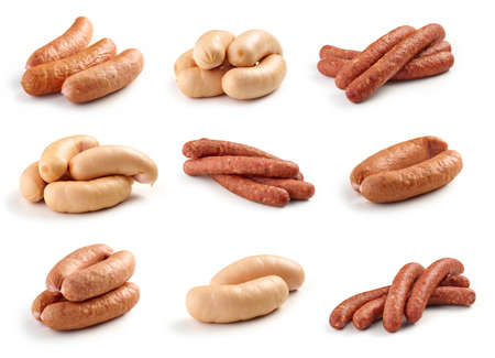 various sausages isolated on white background