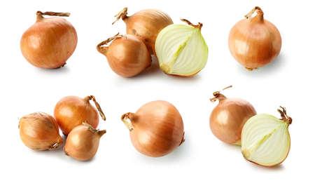 set of fresh raw onions isolated on white background