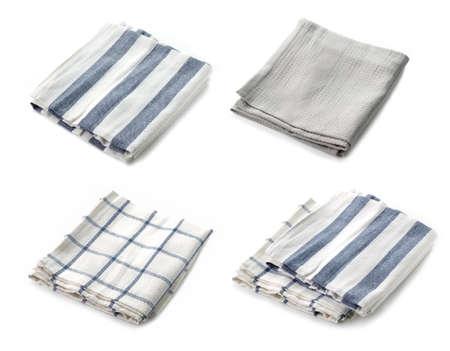 new folded kitchen towels isolated on white background