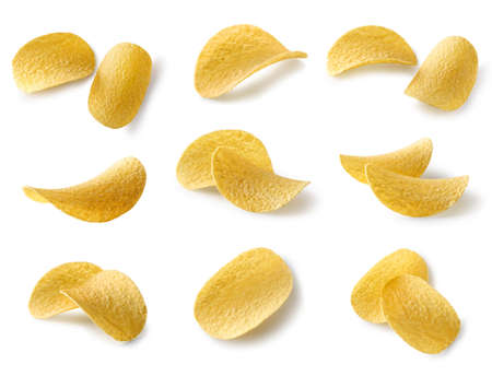 set of potato chips isolated on white background, top view