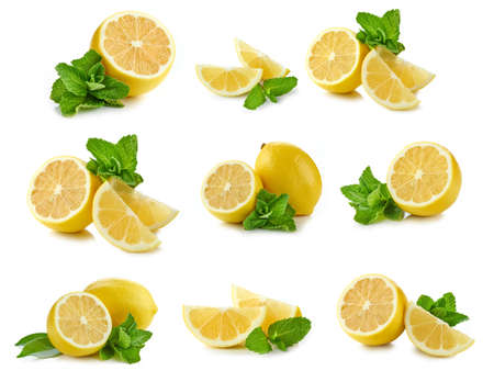 lemon and bunch of mint leaves set isolated on white background