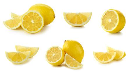 set of fresh sliced lemon isolated on white background Reklamní fotografie