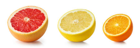 half of citrus fruits isolated on white background