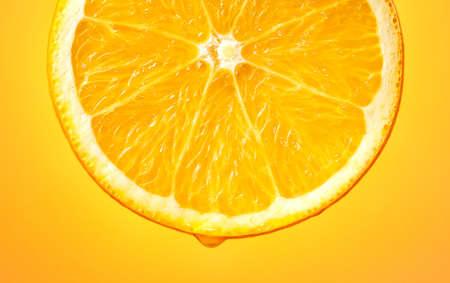 slice of juicy orange fruit macro