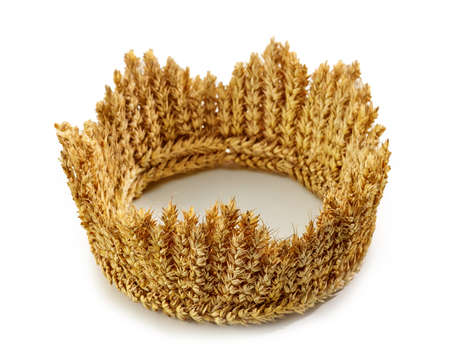 crown made of wheat ears of cereals isolated on white background