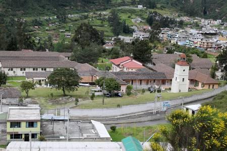 lepra: Paisaje donde se puede ver parte del Barrio San Pablo y Gonzalo González Dermatolgico leproso Hospital de Colonia de Quito Ecuador.