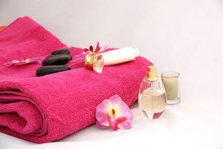 gentleness: perfume, woman, pink towel, hygiene, gentleness, flowers, orchid, shower, sheets, roller, Stock Photo