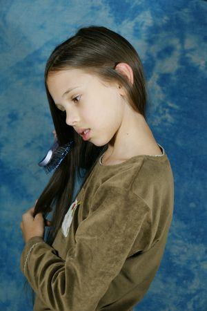 Child, girl, hairstyle, hair, long hair, brush, dark brown hair, locks,