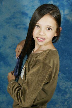 dark brown hair: Child, girl, hairstyle, hair, long hair, brush, dark brown hair, locks,