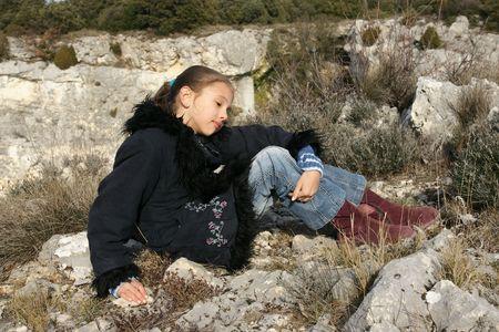 Child, girl, nature, countryside, walking, wind, windy autumn, cool, black coat, Stock Photo - 3657525