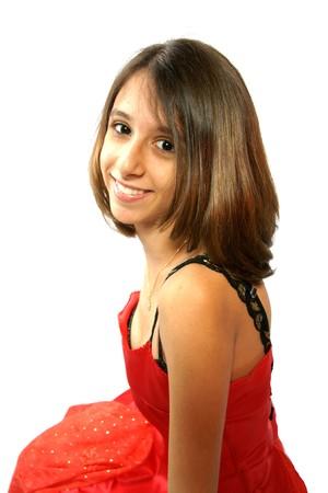 girl, woman, Christmas, celebration, festive, December, red, smile, face, portrait, beauty, dress, red dress, romantic, look, hairdressing,  Stock Photo - 3968894