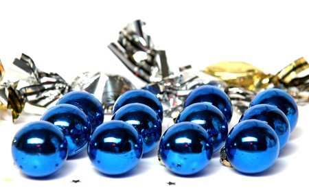 flicker: Christmas balls, Christmas decoration, blue, round, bright, flicker, celebration, in December, fir,