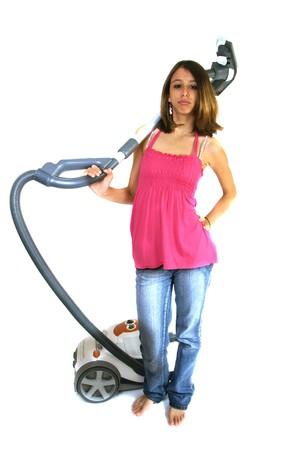 discontent: teenager, cleaning, vacuum cleaner, clean, clean, clean, blow, discontent, feeling, background white, Caucasian,