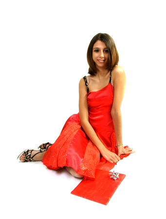 teenager, red dress, smile, gifts, red, offering, package, packaging, party, festive, Caucasian, brown woman, happiness, white background, Stock Photo - 4054780
