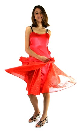 girl in red dress: woman, girl, red dress, dance, happy, Caucasian, brown, white, fashion, Stock Photo