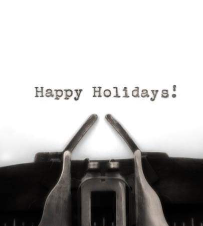 Sepia-toned holiday greeting typed by vintage typewriter. Stock Photo - 11769521