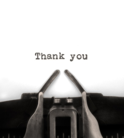 thankful: Sepia-toned thank you typed by vintage typewriter. Stock Photo
