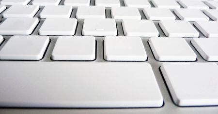 command button: Alluminium keyboard with erased symbols and letters Stock Photo