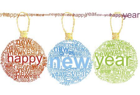 Happy New Year - typographic illustration