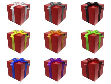 closed ribbon: 9 red gift boxes with different ribbon colors