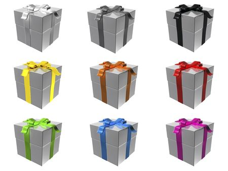 9 silver gift boxes with different ribbon colors Stock Photo - 6129457