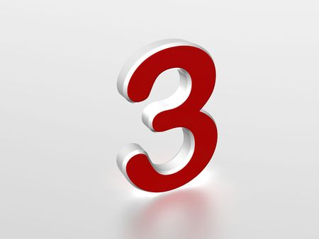 tres: The number 3 - computer generated image Stock Photo