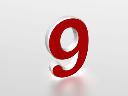 ninth: The number 9 - computer generated image Stock Photo