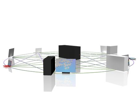 networked: Conceptual computer network in circle