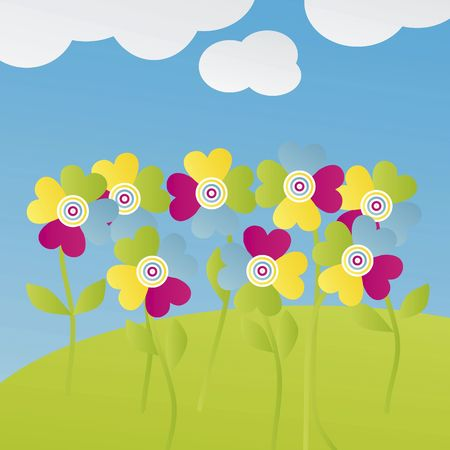 Illustration with multicolored flowers for postcard, greetings card or other things.