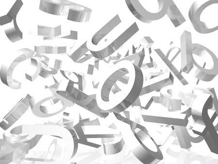 White background with falling 3d letters  Stock Photo