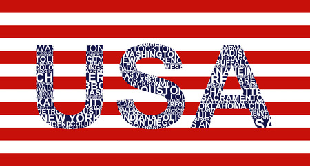 Typographic illustration with text USA Vector