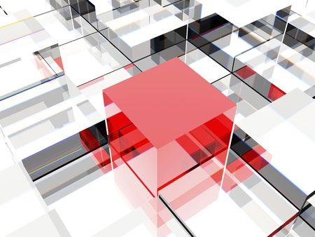 3D-beeld van een rode kubus tegen andere kubussen, symboliseert leiderschap of verschillende denken Stockfoto