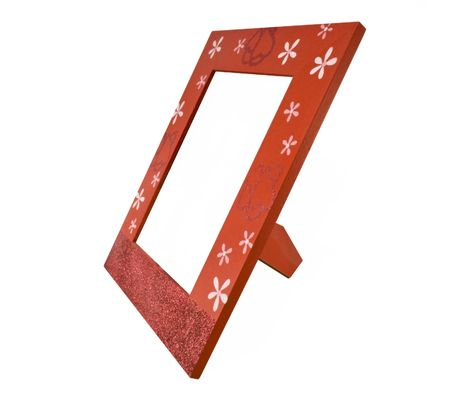 Red wooden photo frame isolated on white background photo