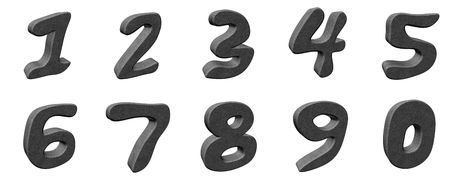 7 8: Set of 3d numbers - gray concrete material