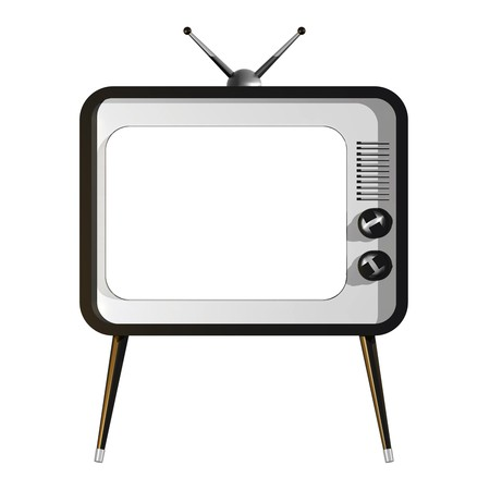 3D illustration of retro TV with empty screen Stock Illustration - 7244460