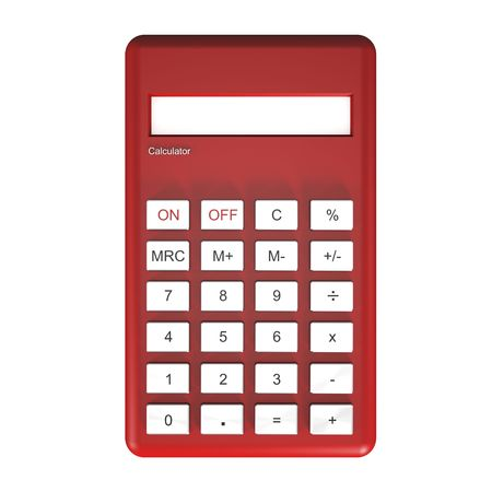Red calculator isolated on white background. Stock Photo