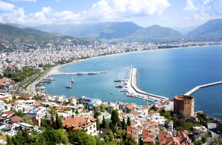 panoramic beach: Panorama of famous holiday resort in Turkey, Alanya